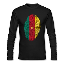 American Cameroon Flag Fingerprint Tshirt For Men Birthday Autumn Custom Printing Graphic Long Sleeve Large Size Bottoming Shirt