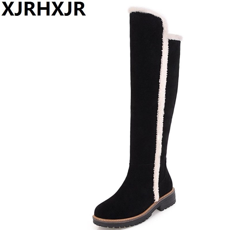 XJRHXJR Fashion Long Boots Womens Casual Shoes Winter Keep Warm Snow Boots Over-the-knee High Flat Fur Boots Large Size 34-43<br>