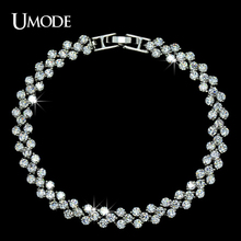 UMODE Fashion Brand Design Rome AAA+ Cubic Zirconia Crystal Stones Pave White Gold Colo Tennis Bracelet For Women Jewelry UB0001