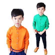 candy color children shirts longsleeve cotton Kids fashion Blouses Stand Collar gentle boys Tops for suits and tuxedo 2-10Y