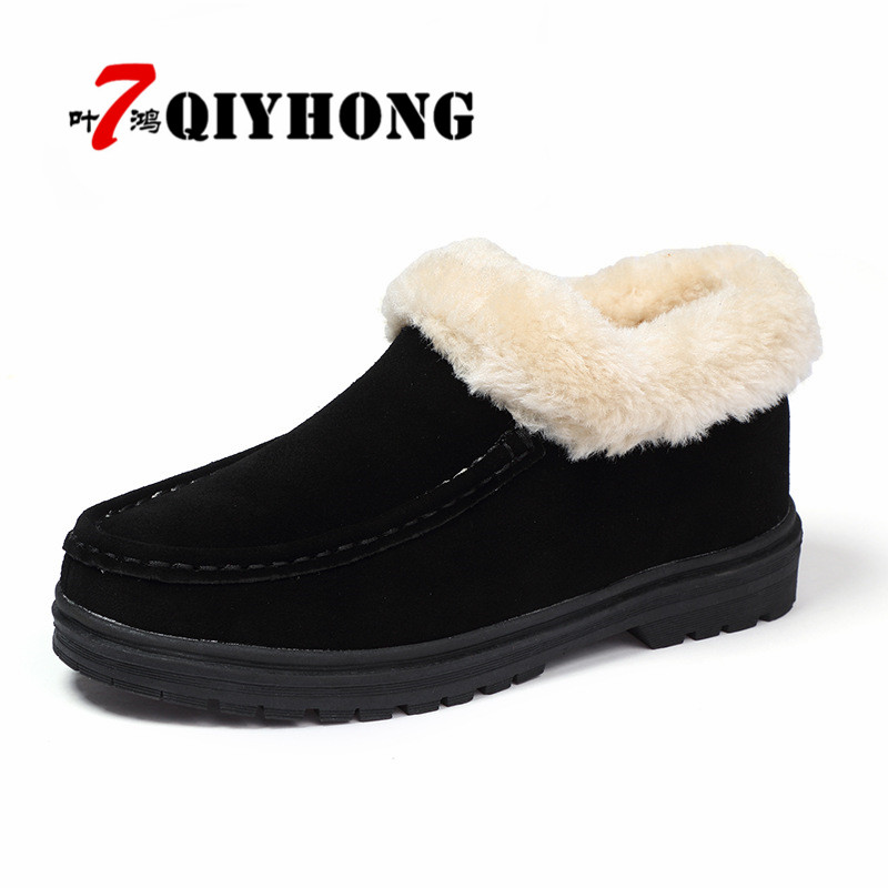 QIYHONG Brand New 2018 Women Boots Winter Suede Leather Boots With Fur Shoes Woman Flat With Black High Quality Warm Shoes<br>