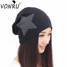 New Autumn Fashion New Knit Baggy Beanie Hat with Star Female Warm Winter Hats for Girls Women Beanies Bonnet Head Cap M0578