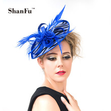 ShanFu Women Zebra Stripe Sinamay Fascinator Feather Headband  Fashion Lady Hair Accessories Blue SFC12441