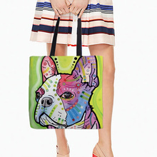 Shopping Tote Bags Storage Bag Colorful Pet Dogs Prints Two Sides Printing Casual Daily Use Single Shoulder Bags White Canvas