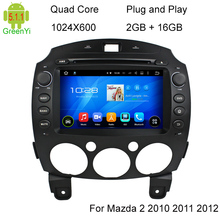 HD 1024*600 Quad Core Android 5.1.1 Car Multimedia DVD Head Unit Player For Mazda 2 2010 2011 2012 Radio Stereo BT 3G RDS