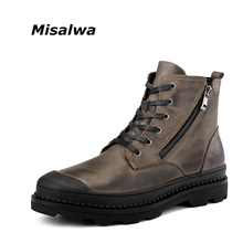 Misalwa Top Quality Genuine Leather Men Martin Boot Big Size 38-47 Military Winter Plush Spring Boots(China)
