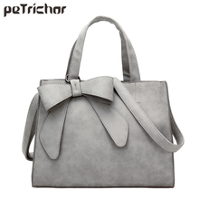 Buy Large Capacity Bow Designer Faux Nubuck Leather Women Handbags Women Totes Purse Female Messenger Bolsa Ladies Shoulder Bag for $21.58 in AliExpress store