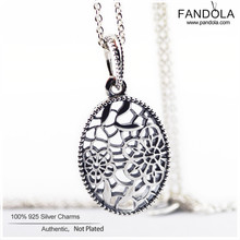 Floral Daisy Lace Necklaces 925 Sterling Silver Necklace Pendants for Women Pandulaso Fine Jewelry 60CM(China)