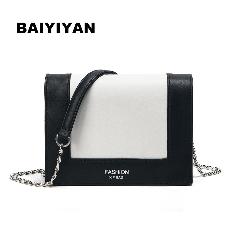 Women Bags 2017 New Trend Europe Small Square Package Fashion Hit Color Shoulder Handbags Simple Chain Messenger Bag<br>