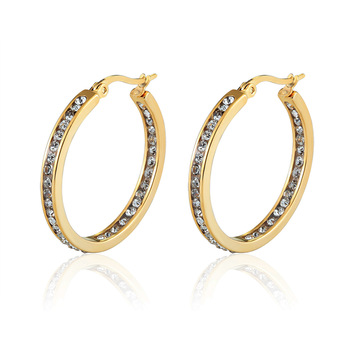 Hot Sale Inlay Zircon Half A Circle Hoop Earrings For Women Titanium Steel Gold Color Woman Crystal Earrings Jewelry Gift