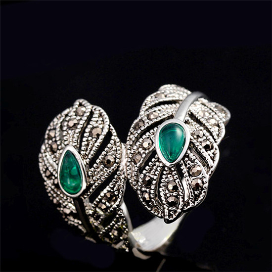 H:HYDE Vintage Jewelry Retro Silver Color Green Stone Leaf Rings Women Open Cuff Cocktail Ladies Rings