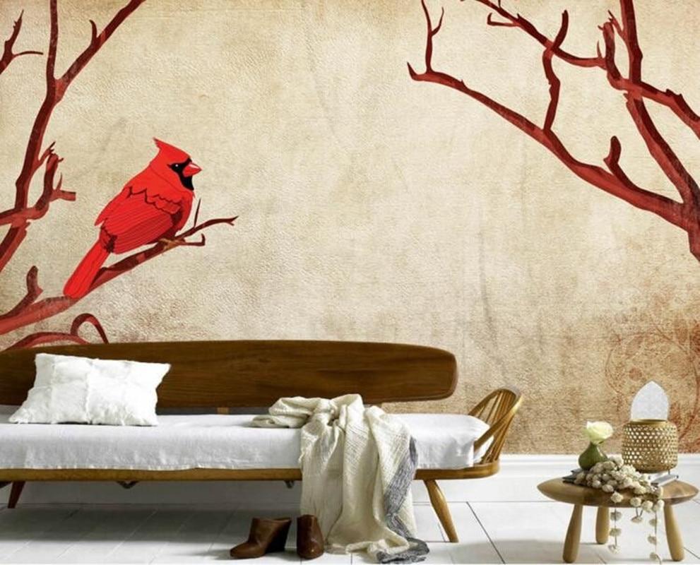 Custom 3d murals, Nostalgic retro red birds on branches papel de parede,living room sofa TV wall bedroom wallpaper mural kids<br>