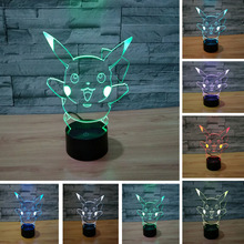 2017 Kawaii Japanese Pokemons Go Game 3D LED USB Lamp Ash Ketchum Pet Pikachu Colorful Night Light Child Gift Novelty Lighting