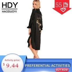 HDY Haoduoyi женская летняя Цветочная вышивка сплит рубашка платье повседневное кнопка вниз Vestido длинная винтажная Вечеринка платье