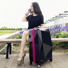 ABS Luggage Travel Bag diamond mirror suitcase trolley universal woman case student soft luggage 20\24 inch Spinner Wheel