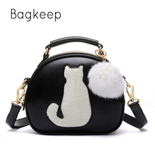 Hairball Pendant Cute Cartoon Small Cat Top-Handle Handbags Tote Bag For Women 2017 Girls Shoulder Bags Messenger Crossbody Bags