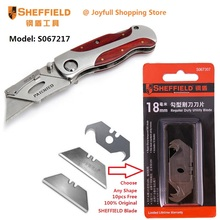 SHEFFIELD Utility Folding Knife Double Color Handle Heavy Duty Blade Knife Porcket Knife for Paper Leather Cutter with 10 blades(China)