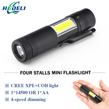 Mini Portable led flashlight cree q5 cob work light waterproof lamp linterna Rechargeable lanterna use 14500 or aa battery