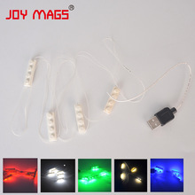 JOY MAGS Colorful LED Building Block Accessory Toy 1pcs 6 Serial Light USB Power Compatible with Lego Creator Decoration