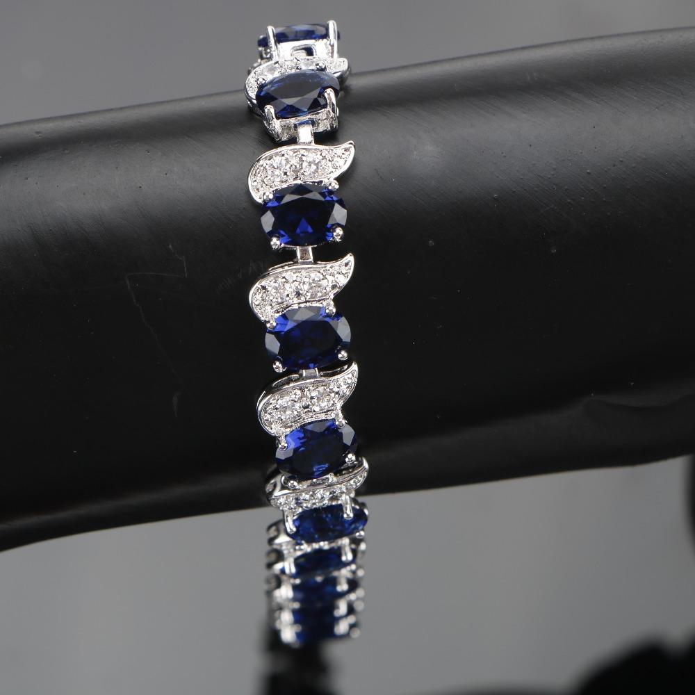 طقم مجوهرات  الأزرق الزركون فضية 925 2