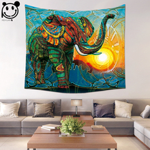 PEIYUAN Home Decorative Colorful Mandala Elephant Tapestey Factory Wholesale Custom Wall Hanging Cloth Tapestry Beach Towel(China)