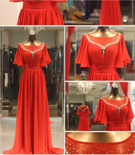 Real Sample Photo Short Flutter Sleeve Red Chiffon Modest Prom Dresses with Sleeves Crystal Beaded Formal Evening Gown
