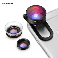 VICTSING Clip-on 3 in 1 Camera Phone Lens Kit Fisheye Lens + 12X Macro + 24X Super Macro Lens for iPhone 6s 6 Plus etc Cellphone(China)