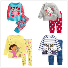 Fashion girl's clothing set spring autumn cotton baby girls sets children's pajamas suit sleepwear cartoon print t-shirts+pants