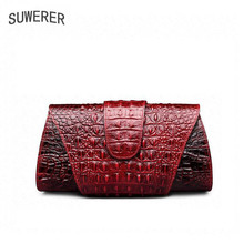 Genuine Leather Women's handbags Trend crocodile pattern small square bag Fashion handbag Shoulder bag Messenger bag(China)