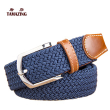 Knitted canvas belt decoration belt female pin buckle canvas strap women's elastic belt 105CM(China)
