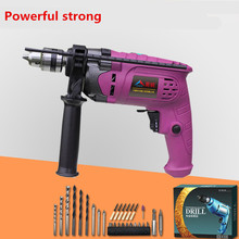 220v DC Adjust speed hand drill Industrial Electric impact drill hammer Electric drill Screw driver bits power tools with drill(China)