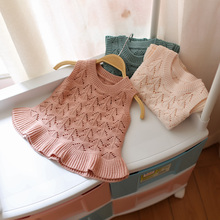 2017 spring and autumn hot baby girls knitting sweater vest kids children personality sweater infant baby cotton sweater(China)
