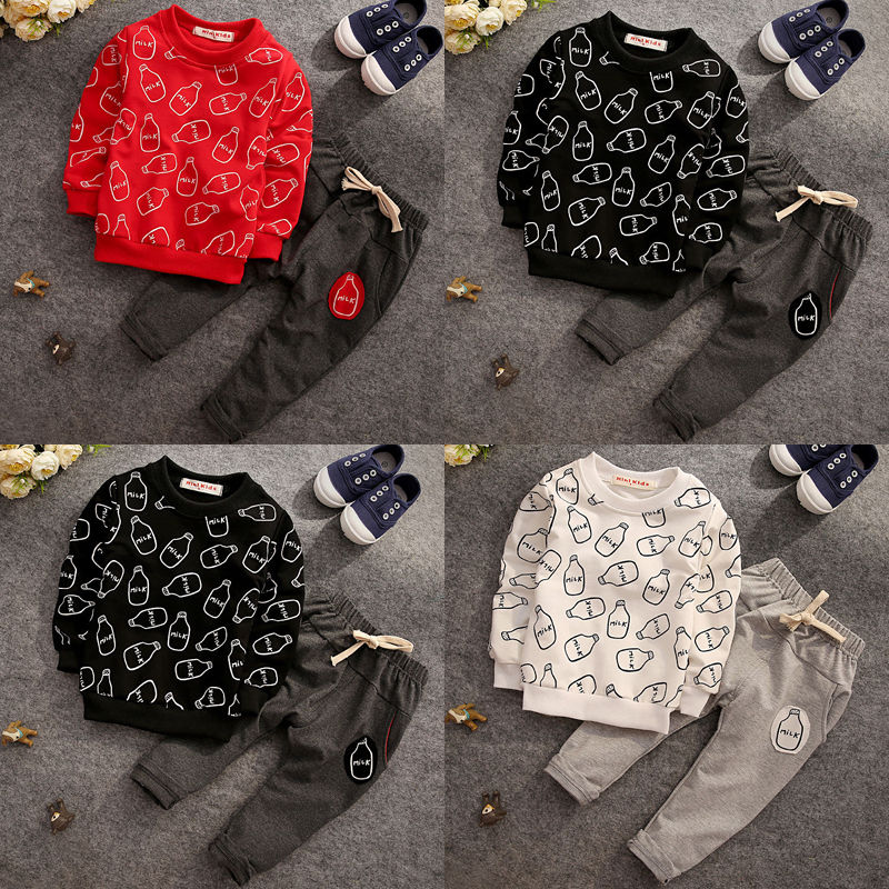 New Year 2PCS 2017 Toddler Baby Kids Boys Girls Clothing Sets Children Milk Bottle Outfits T-shirt Tops+Pants Clothes Sport Wear<br><br>Aliexpress