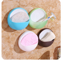 Urijk Round Wall Mounted Type Bathroom Storage Box Soap Bar Holder Kitchen Tools Sponge Drain Shelf Bag