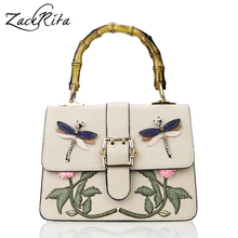 ZackRita Women Fashion Luxury Embroidery Animal Flower Bamboo Handle Leather Female Tote Bag Handbag Shoulder Bag sac a main B66