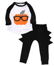 2pcs suit !! 2017 Autumn Baby Boy Girls Clothes cartoon Pumpkin long sleeve T-shirt Tops+Long Pant  Outfits