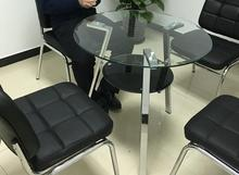 Stainless steel foot double steel glass round table. Negotiate table. Table for tea table.