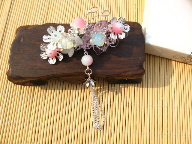 Meilian Temptation Lotus  Egg White Jade Beads Vintage Hair Pin Hair Comb Hanfu Hair Accessory Hair Jewelry<br>