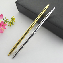 1 Pcs High Quality New Arrival Slender Stainless Steel Rod Rotating Metal Ball Pen Commercial Ballpoint Pen Gift Stationery