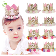 Baby Girl First Birthday Party Cap Decorations Hairband Princess Queen Crown Lace Hair Band Elastic Head Wear Hat Gifts For Kids