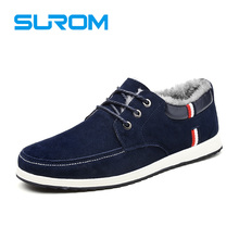 SUROM Brand Men Shoes Fashion Flats Suede Leather Casual Shoes with Fur Warm shoes for Winter Platform Lace up Boat Shoes(China)