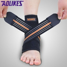 AOLIKES 1pc Professional Sports Ankle Strain Wraps Bandages Elastic Ankle Support Brace Protector For Fitness Running