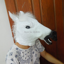 Creepy White Horse Head Mask Halloween Party Mask Cosplay Animal Costume Theater Prop Novelty Latex Rubber Mask