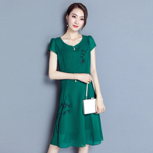 Plus Size Spring Summer Women dress Short Sleeve Chiffon Mother Long In Laos At Age 4050 Dresses Red Green Blue 1903(China)