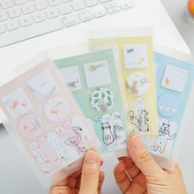 4 pcs Cute memo pad Mini post it Flamingo Squirrel schedule diary sticker planner note Stationery Office School supplies A6788