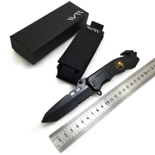 WTT 229 Black Folding Knife 7CR17Mov Half Serrated Blade Tactical Camping Survival Combat Pocket Knives EDC Hunting Multi Tools(China)