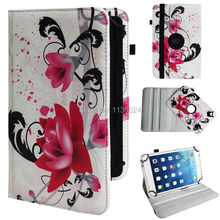 "200pcs/lot universal 360 rotation prints case cover PU Leather Case for 9"" Tablet PC free shipping"