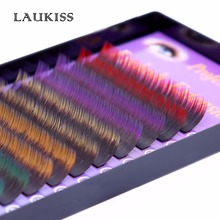 2017 New Two Tone Colored Fake Eyelashes D Curl Colorful Eyelashes Black-Red Orange Green Blue Rainbow Eyelashes Extension Prom