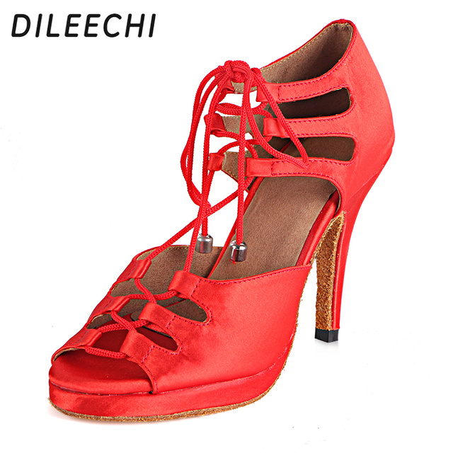 DILEECHI women s latin dance shoes salsa party dance shoes satin Waterproof  platform red black bronze heel 6ad87d444516