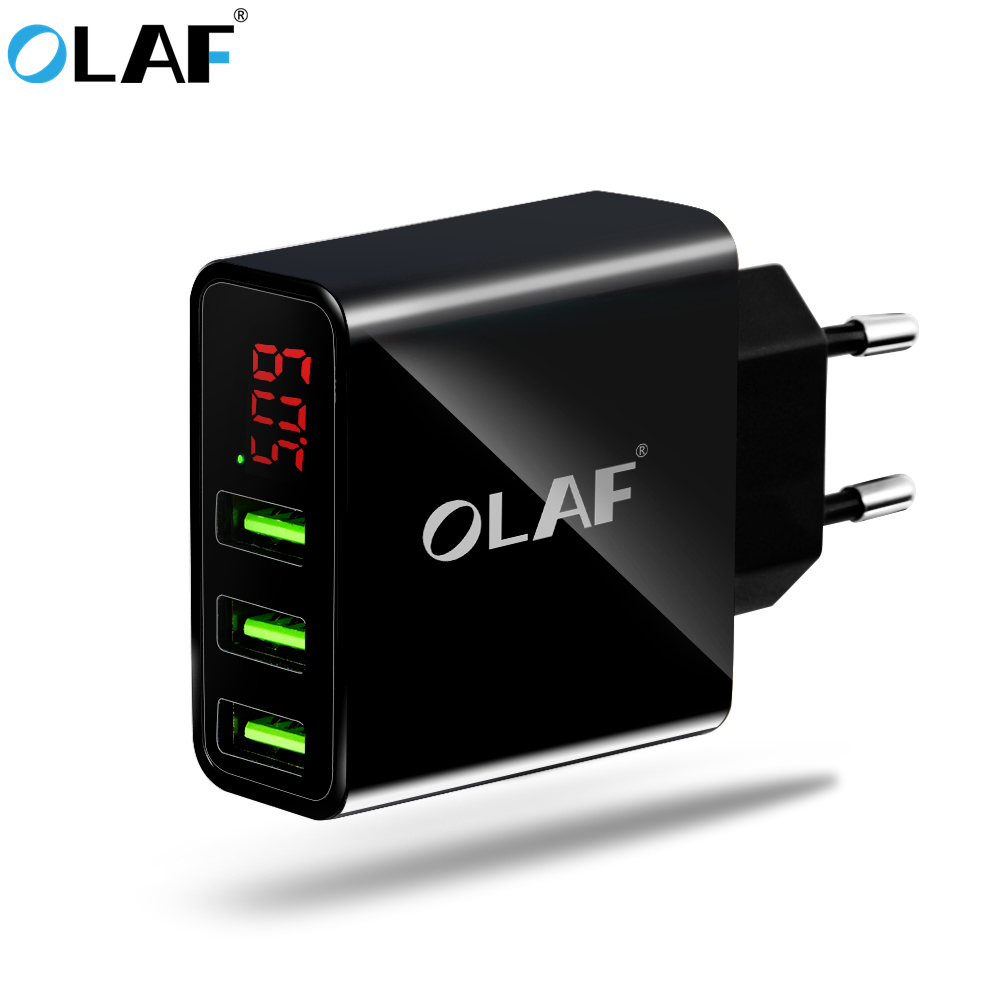 OLAF 3 Port USB Phone Charger EU/US LED Disply Smart 5V 3A Fast Wall Travel Mobile Phone Charger For iPhone Samsung S8 Xiaomi